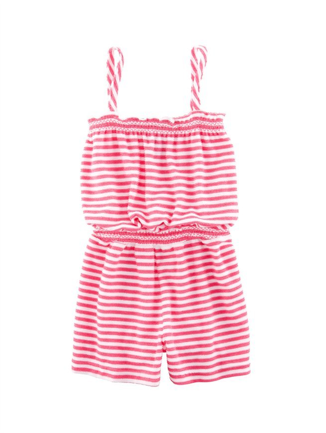 Oscar de la Renta Girls' Striped Terry Jumpsuit
