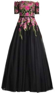 Basix II Black Label Off-The-Shoulder Floral Ball Gown
