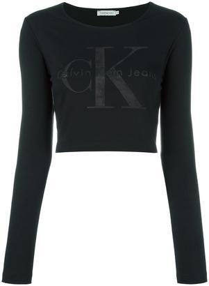 Calvin Klein Jeans logo cropped sweatshirt $97.96 thestylecure.com