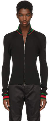 Wales Bonner Black Palms Zip Sweater