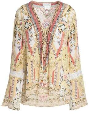 Camilla My Summer Love Lace-Up Printed Silk Blouse
