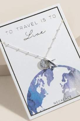 francesca's World Traveler Airplane Pendant Necklace in Silver - Silver