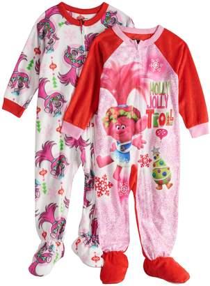 Dreamworks Toddler Girl 2-pack DreamWorks Trolls Poppy Christmas Fleece Footed Pajamas
