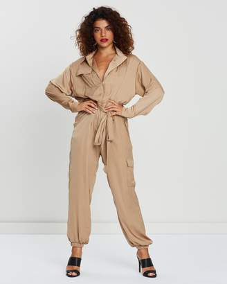 Satin Belted Utility Jumpsuit