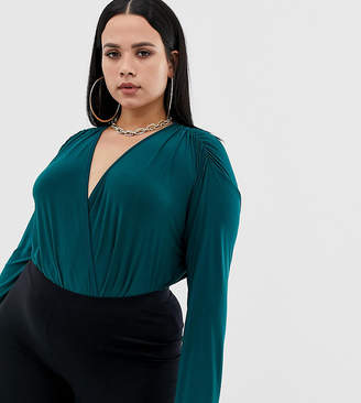 PrettyLittleThing Plus Plus slinky wrap front long sleeve bodysuit in emerald green