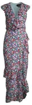 Saloni Women's Anita High-Low Ruffle Dress - Blue Poppyfield - Size 0
