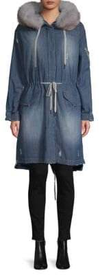 Soia & Kyo Fox Fur-Trimmed Denim Coat