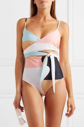 Mara Hoffman Isolde Belted Printed Swimsuit - Peach