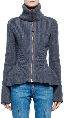 Alexander McQueen Ribbed Knit Wool Peplum Jacket, Gray $1,645 thestylecure.com