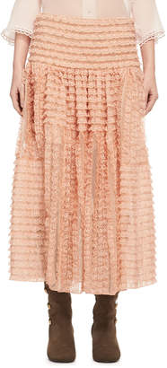 Chloé Tiered Ribbon Lace Ruffled Silk Skirt, Peach