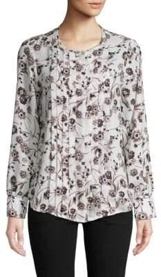 a91e548de9706f Karl Lagerfeld Paris Floral Pleated Blouse
