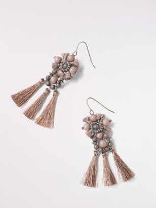 White Stuff Bead & Tassel Ornate Earring