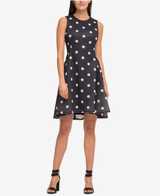 DKNY Polka Dot Scuba-Mesh Fit & Flare Dress, Created for Macy's