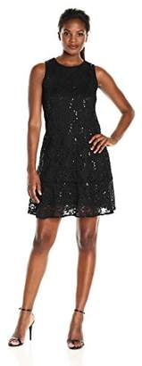Tiana B Women's Sequence Lace Trapeze Dress with Bottom Flounce