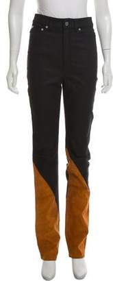 BLK DNM High-Rise Suede-Panel Jeans