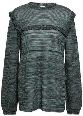 M Missoni Ruffle-trimmed Cotton-blend Sweater