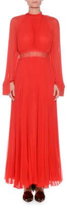 Giambattista Valli High-Neck Long-Sleeve Pleated Silk Gown w/ Lace Waist