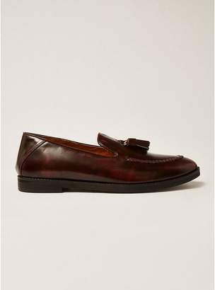 Topman Mens Red Burgundy Leather Vine Tassel Loafers