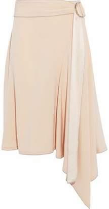 Derek Lam 10 Crosby Belted Satin-Trimmed Crepe Skirt