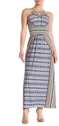 London Times Geo Printed Halter Maxi Dress