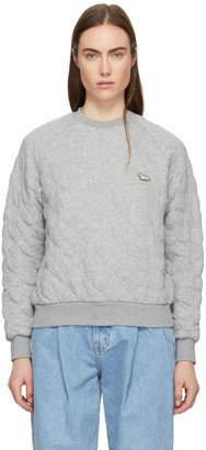 MAISON KITSUNÉ Grey Quilted Sweatshirt