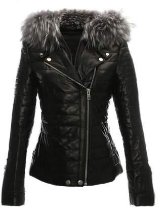 DKNY R Paris Davy Quilted Leather Fur Trim Biker Jacket