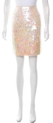 Carmen Marc Valvo Embellished Silk Skirt