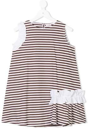 Il Gufo striped ruffle detail dress