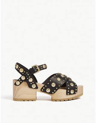 Maje Studded wooden heeled sandals