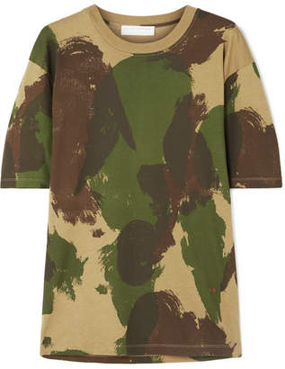 Victoria Beckham Camouflage-print Cotton-jersey T-shirt - Army green
