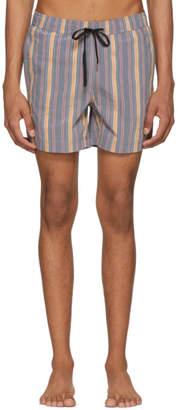Onia Navy Striped Charles Swim Shorts