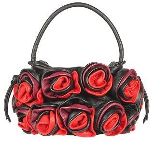 Fontanelli Black & Red Handmade Rose Bouquet Italian Leather Handbag