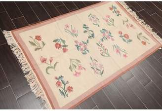 """August Grove One-of-a-Kind Lilie Hand-Knotted 3'6"""" x 5'6"""" Wool Ivory Area Rug August Grove"""