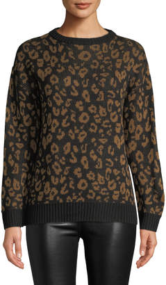 Nicole Miller New York Leopard-Jacquard Crewneck Sweater