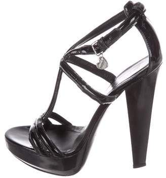 Burberry Patent Leather T-Strap Sandals