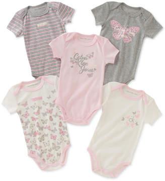 Calvin Klein 5-Pack Printed Bodysuits, Baby Girls
