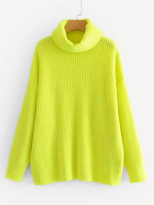 Shein Neon Lime Turtleneck Drop Shoulder Jumper