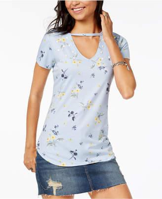 Ultra Flirt By Ikeddi Juniors' Embellished Choker T-Shirt