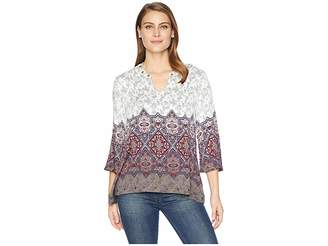 Tribal 3/4 Sleeve Blouse with Eyelets