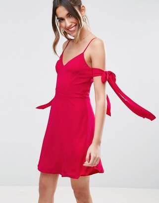 Asos Tie Cold Shoulder Mini Dress
