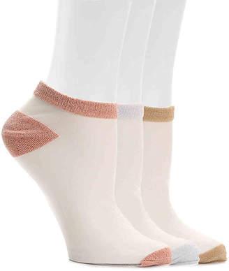 Steve Madden Lurex Ankle Socks - 3 Pack - Women's