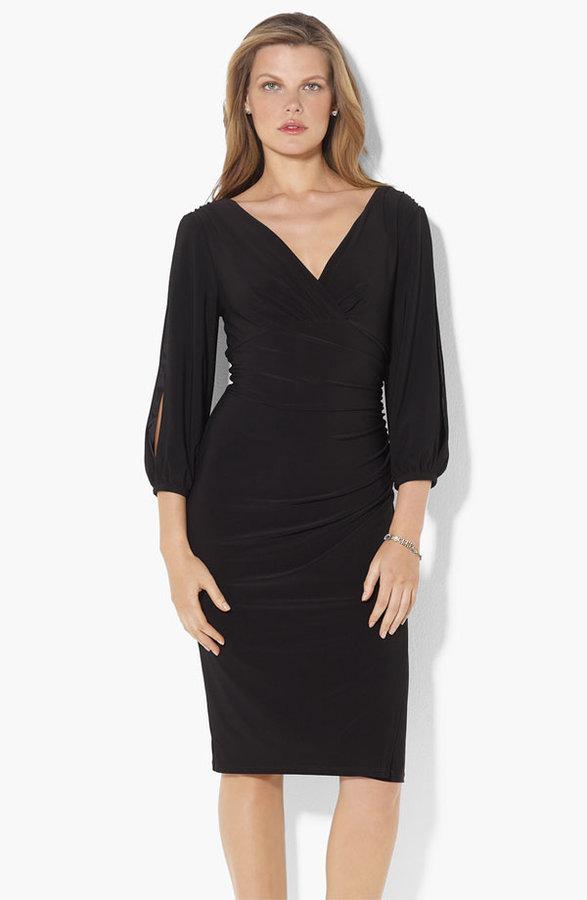 Lauren Ralph Lauren Split Sleeve Jersey Sheath Dress