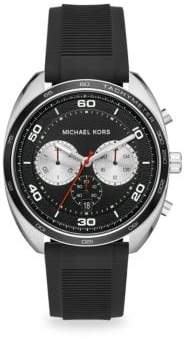 Michael Kors Dane Stainless Steel& Black Silicone Chronograph Watch