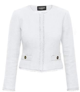 Rumour London - Gabrielle Cream Tweed Jacket with Fringing Detail