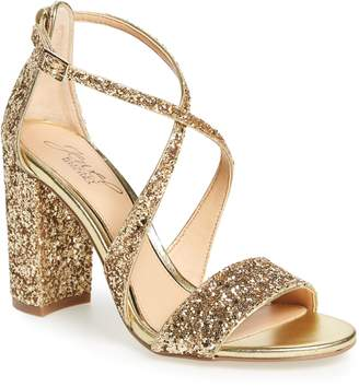 Badgley Mischka Cook Block Heel Glitter Sandal