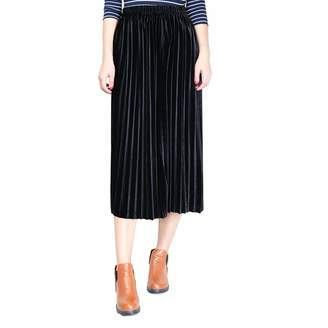 Belgius Women Velvet Pleated Midi Skirt Elastic High Waist A-line Long Dress L