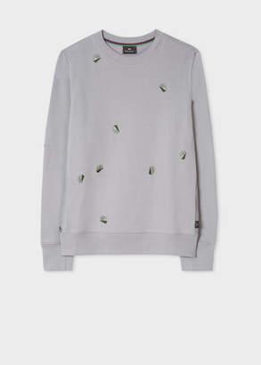Paul Smith Men's Light Grey Embroidered 'Palm' Cotton Sweatshirt