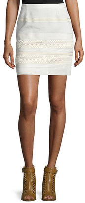 Belstaff Lace Skirt W/Leather Trim, Off White $795 thestylecure.com
