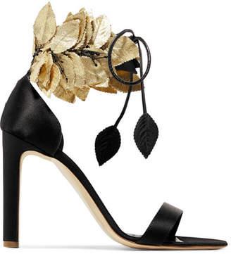 Eden Embellished Satin Sandals - Black