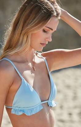 La Hearts Ribbed Ruffle Triangle Bikini Top